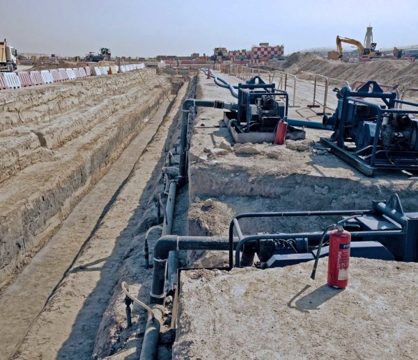 Dubai International Airport dewatering stormwater pipe line excavation