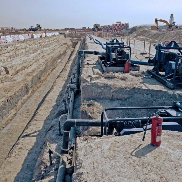 Dubai International Airport dewatering stormwater pipe line excavation